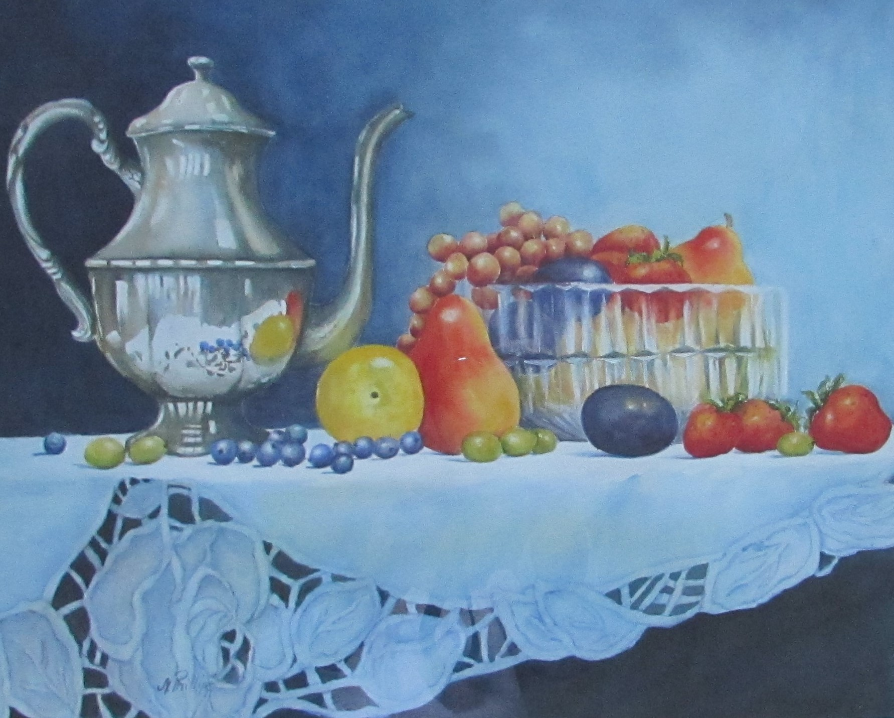 - 16 x 22 w/c, Still life with fruit