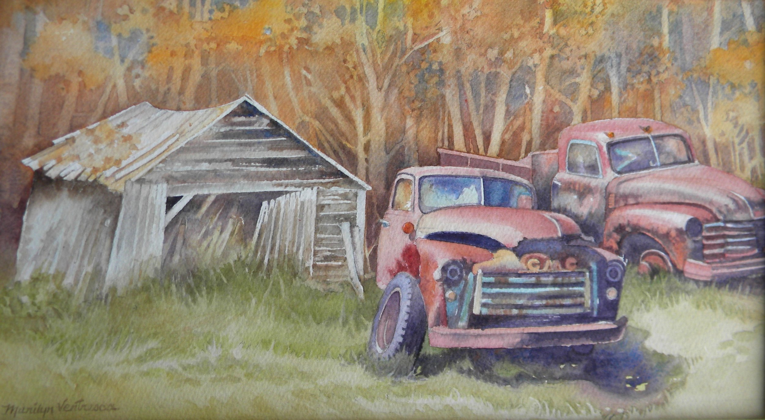 Two Trucks watercolor