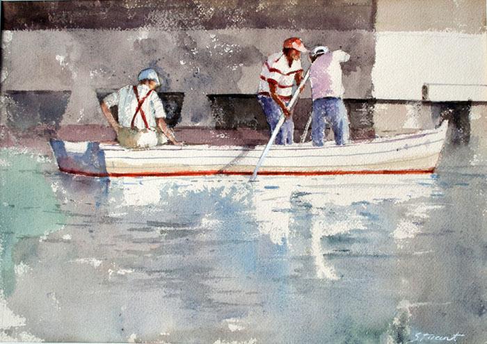 Crab Fishing 14x20 watercolor