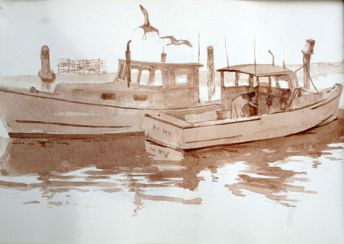 Lobster Boat 14x20 watercolor