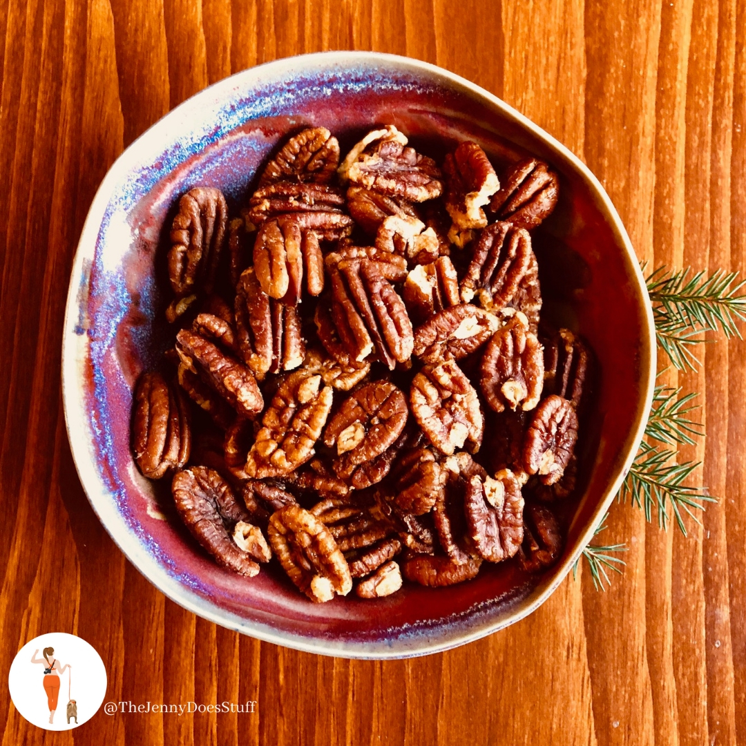Toasted Pecans with Maple and Sea salt. Directions: Coat pecans with 2 tbs maple syrup and dash of sea salt. Bake 400 degrees until golden brown.