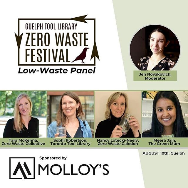 Our very own Jen Novakovich will be moderating this panel at the first #zerowastefestival by @gtoollibrary - happening THIS SATURDAY!! Featuring some of our favorite Canadian eco-influencers in a conversation about #lowwaste lifestyles and waste reduction. You won't want to miss this amazing event in Guelph!! Featured in the panel is Nancy Lotecki-Neely, Meera Jain (@thegreenmum ), Tara McKenna (@zero.waste.collective & @mindfully.tara ) & Sophi Robertson (@yourecofriend & @torontotoollibrary ). Find all the details through the link in @gtoollibrary bio! Can't wait!!!