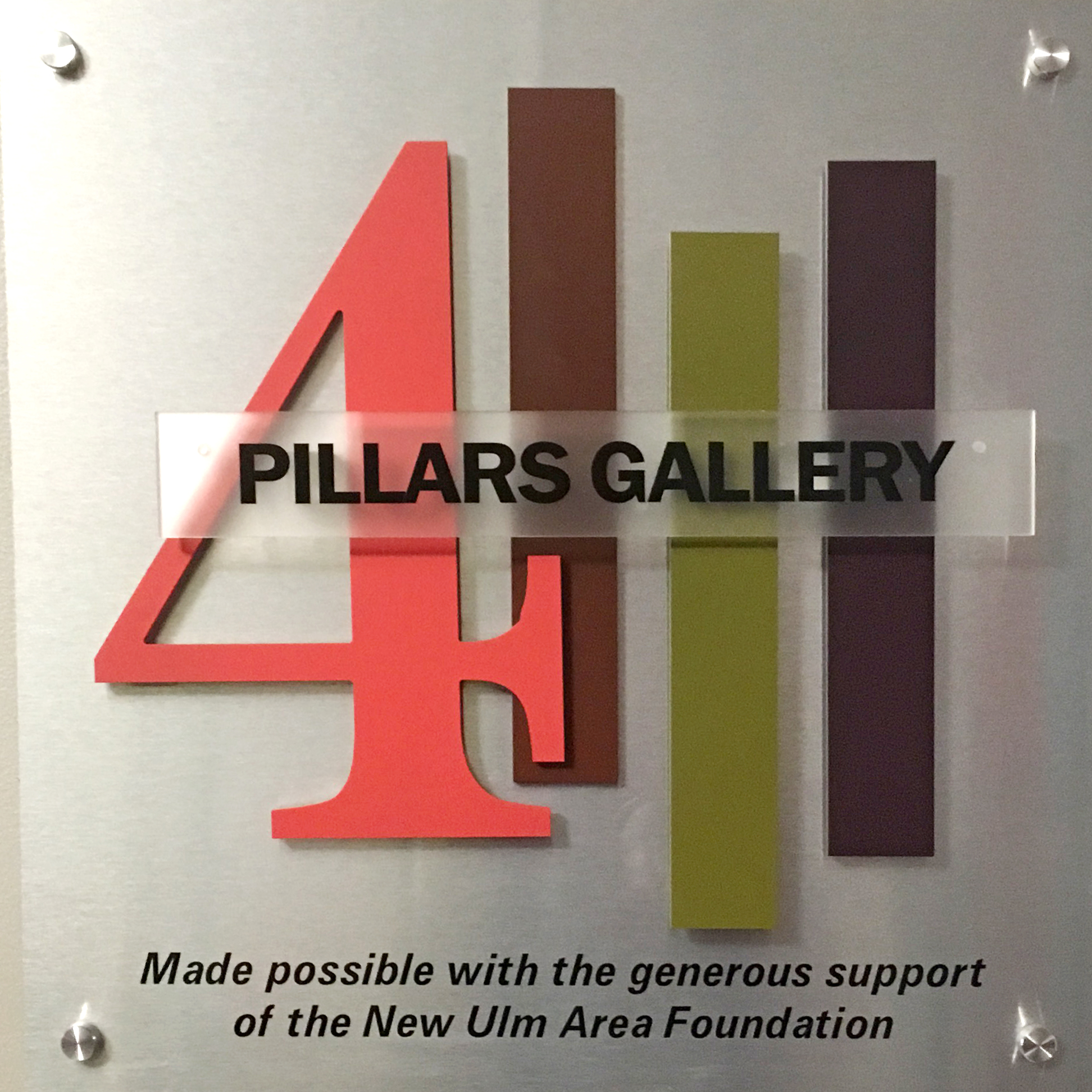 The  4 Pillars Gallery  holds ten to twelve shows per year featuring local and regional artists of all types and all media. Thank you to the New Ulm Area Foundation for providing funding for our state of the art gallery and lighting, which is the only one of its kind in New Ulm.