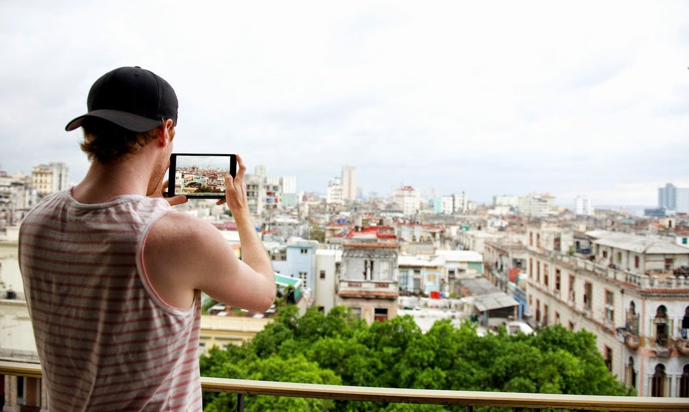 Taking a photo of my rooms view in Havana 2013