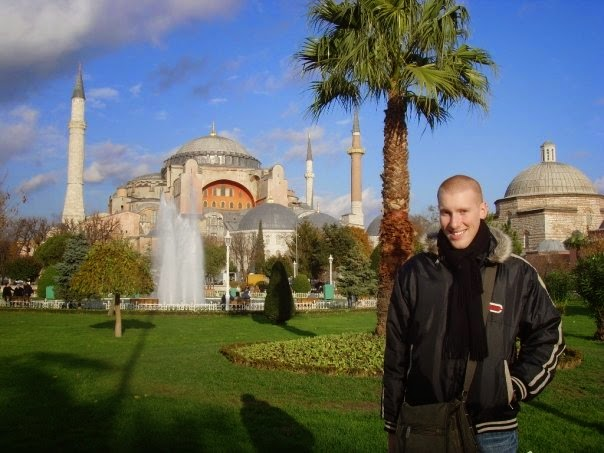 Out front of the Hagia Sophia on the European side 2007