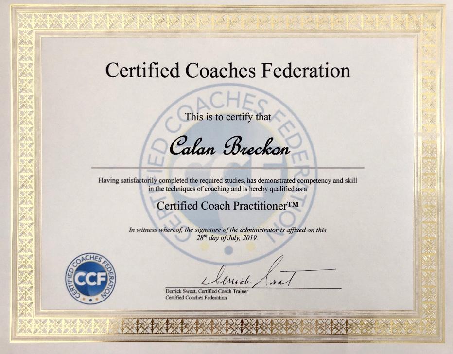 Certified Coaches Federation Certificate Calan Breckon - Life Coach Certification