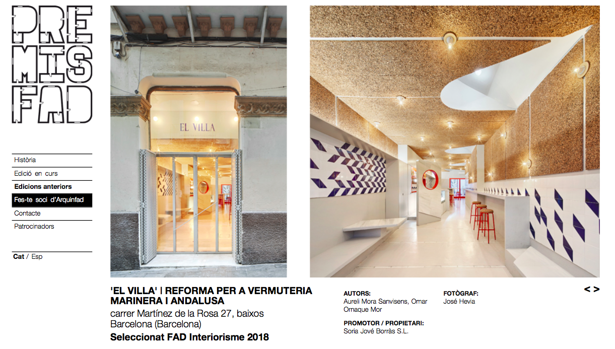 EL VILLA has been awarded by Premis FAD as a selected interiorism project 2018 -