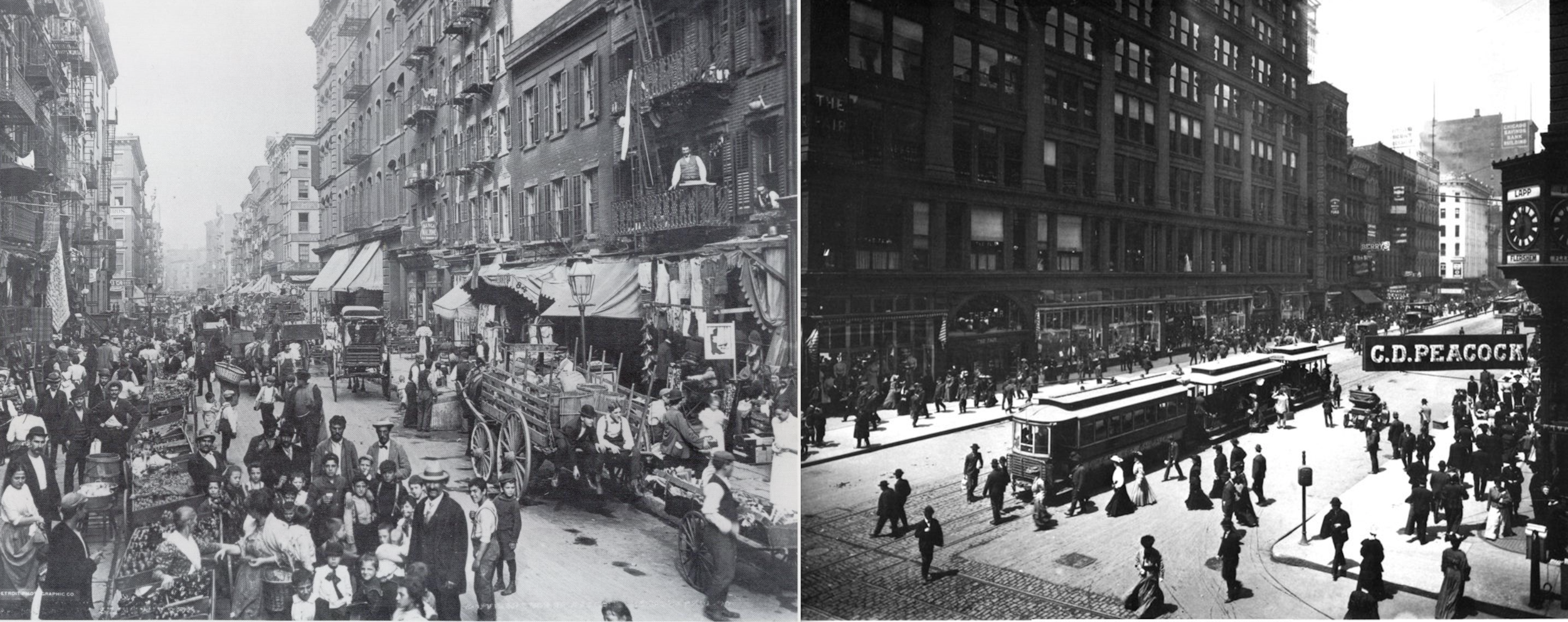 Snapshots from early 20th century New York City (Left) and Chicago (Right)