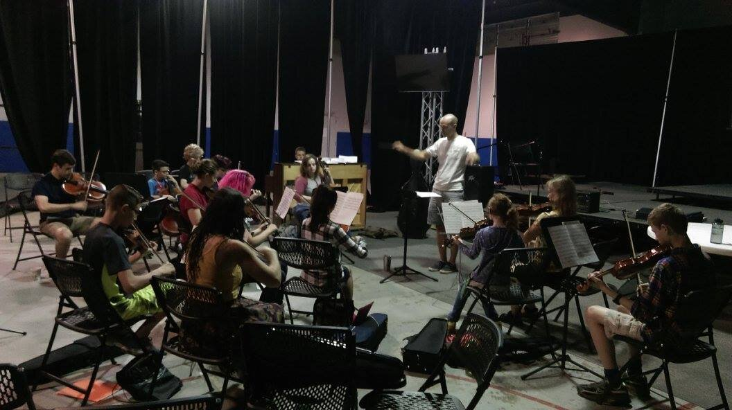 Conducting the string ensemble at Coda Mountain Academy Music Festival, WV 2017