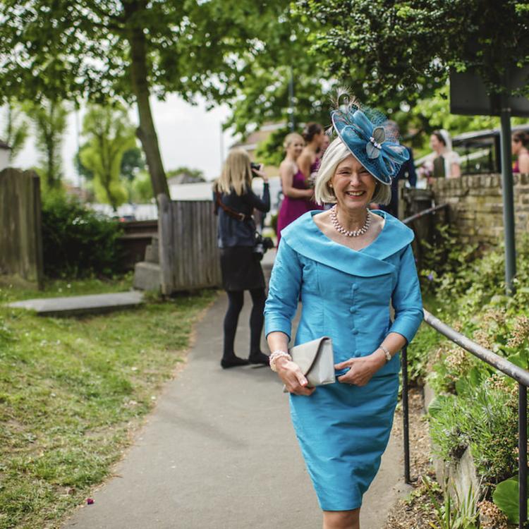 Mrs Hill wears bespoke 'Esmirelda' headpiece by Sarah Crozier  Purchased from 'Melita of Chobham' www.melitaboutique.co.uk  Photograph © Sophie Duckworth Photography