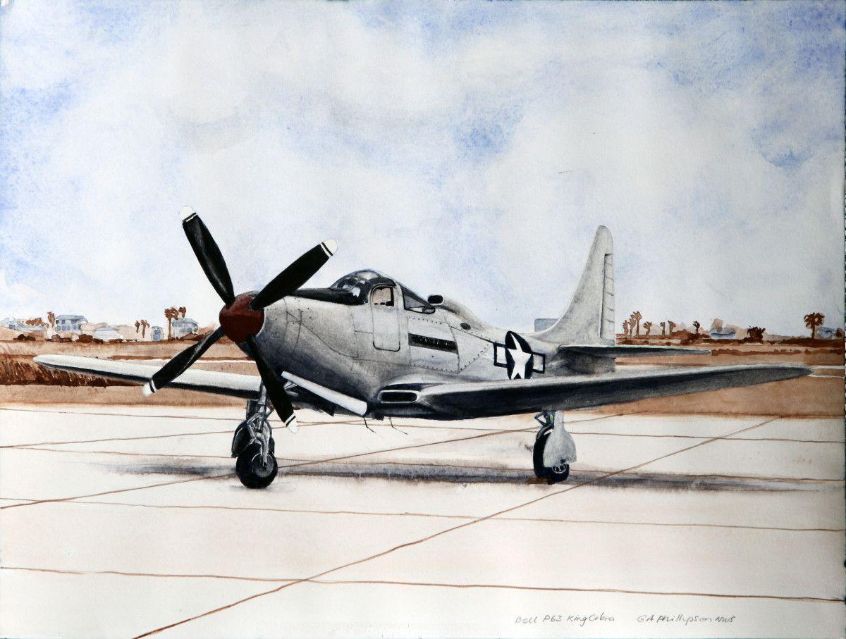 Gordon Phillipson.  Bell P63 King Cobra , 2017. Watercolor. 13 x 19 in. $750.