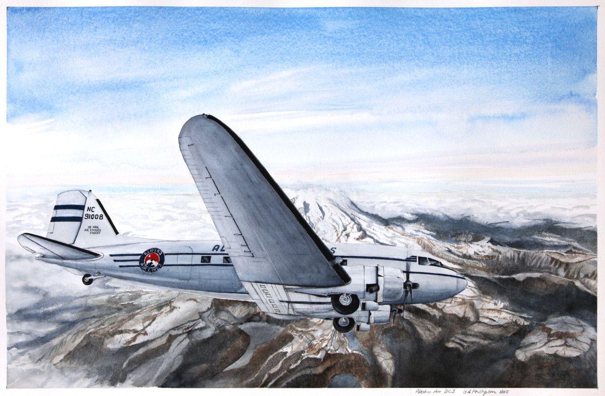 Gordon Phillipson.  Alaska Airlines DC3 , Watercolor. 22 x 30 in. $2,200.