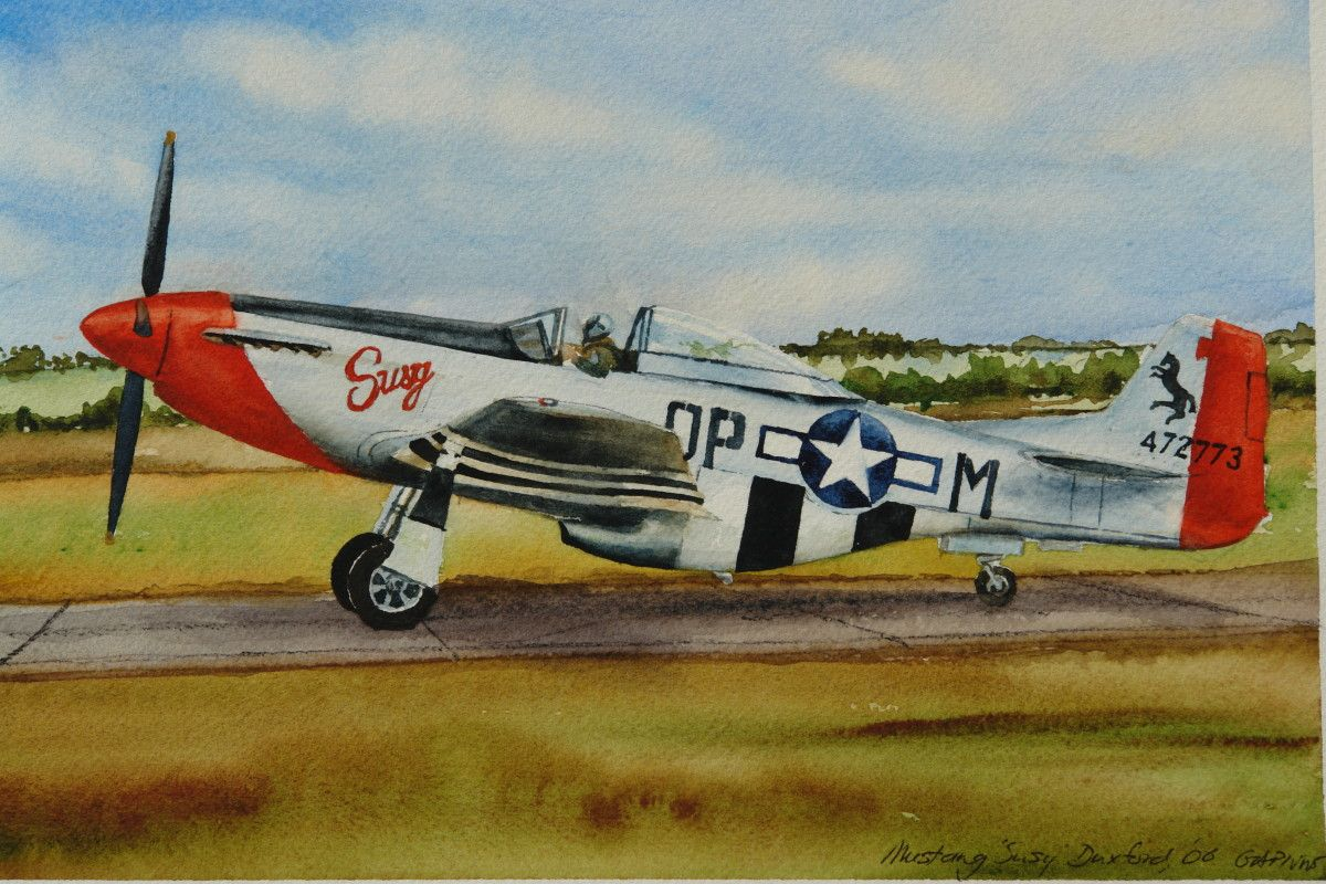 Gordon Phillipson.  Mustang Susy Duxford , Watercolor. 7 x 10.5 in.  $550.