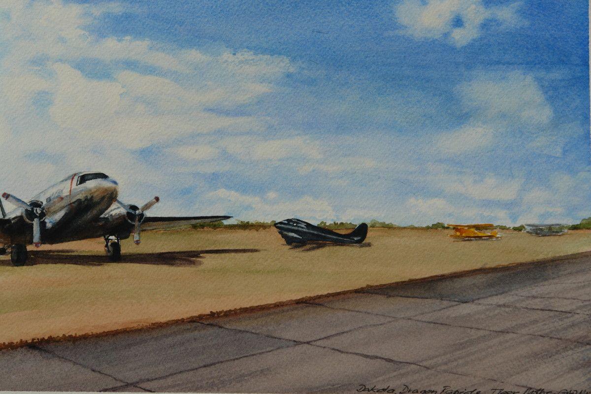 Gordon Phillipson.  Dakota Dragon Rapide , Watercolor. 7 x 10.5 in. $550.