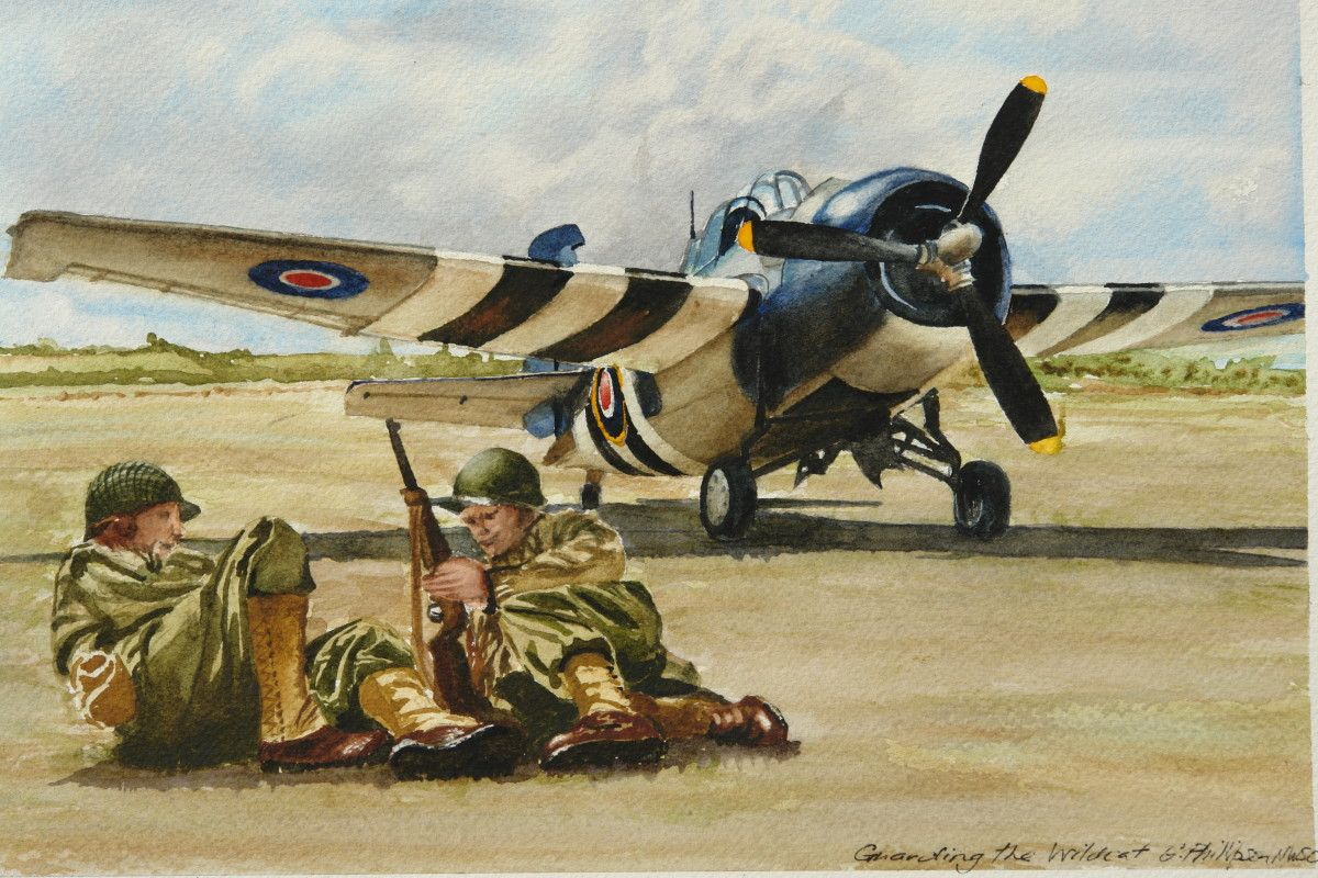 Gordon Phillipson.  Guarding the Wildcat , Watercolor. 7 x 10.5 in.  $550.
