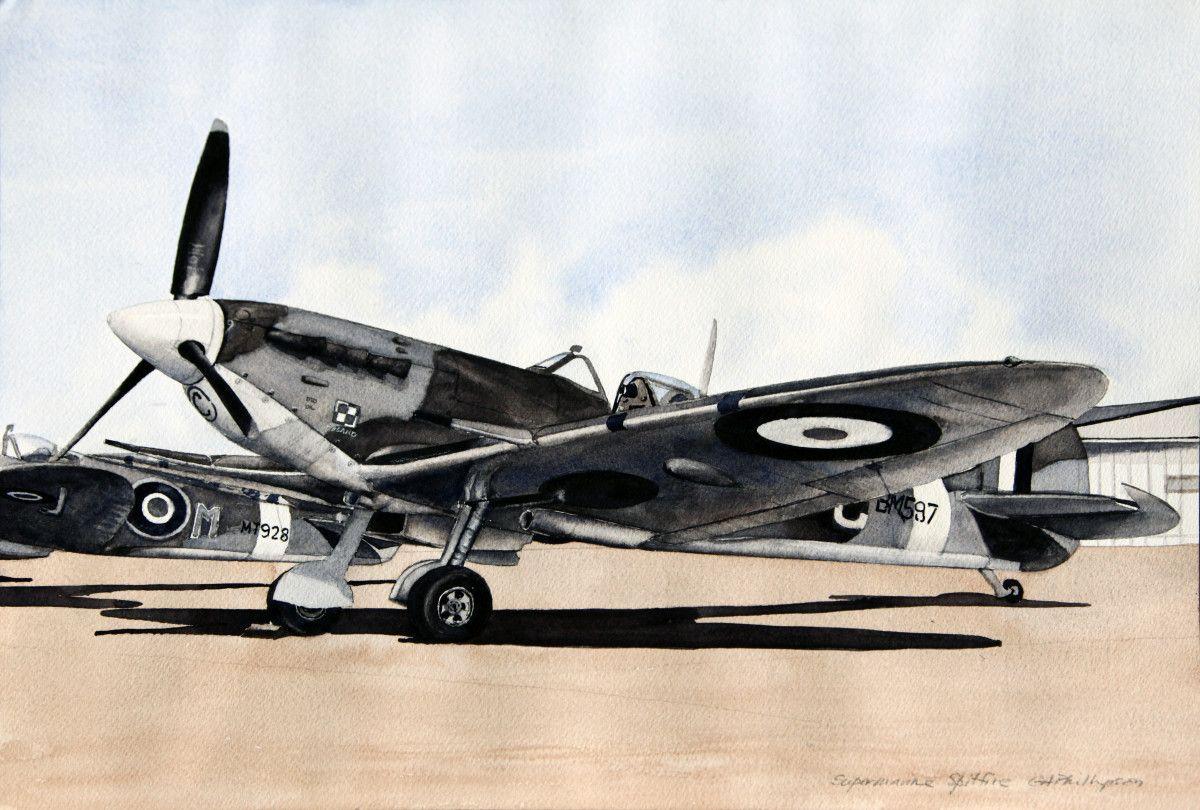 Gordon Phillipson.  Supermarine Spitfire,  Watercolor. 13 x 19 in. $750.