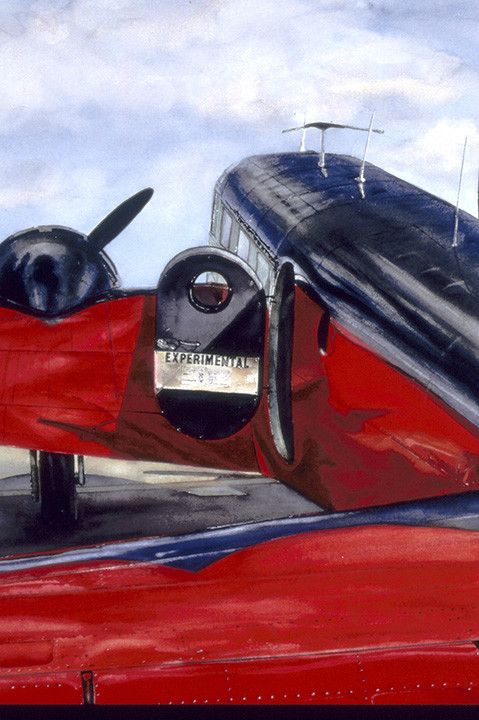 Gordon Phillipson.  Beech 18,  Watercolor.  Res , 26 x 20 in. SOLD.
