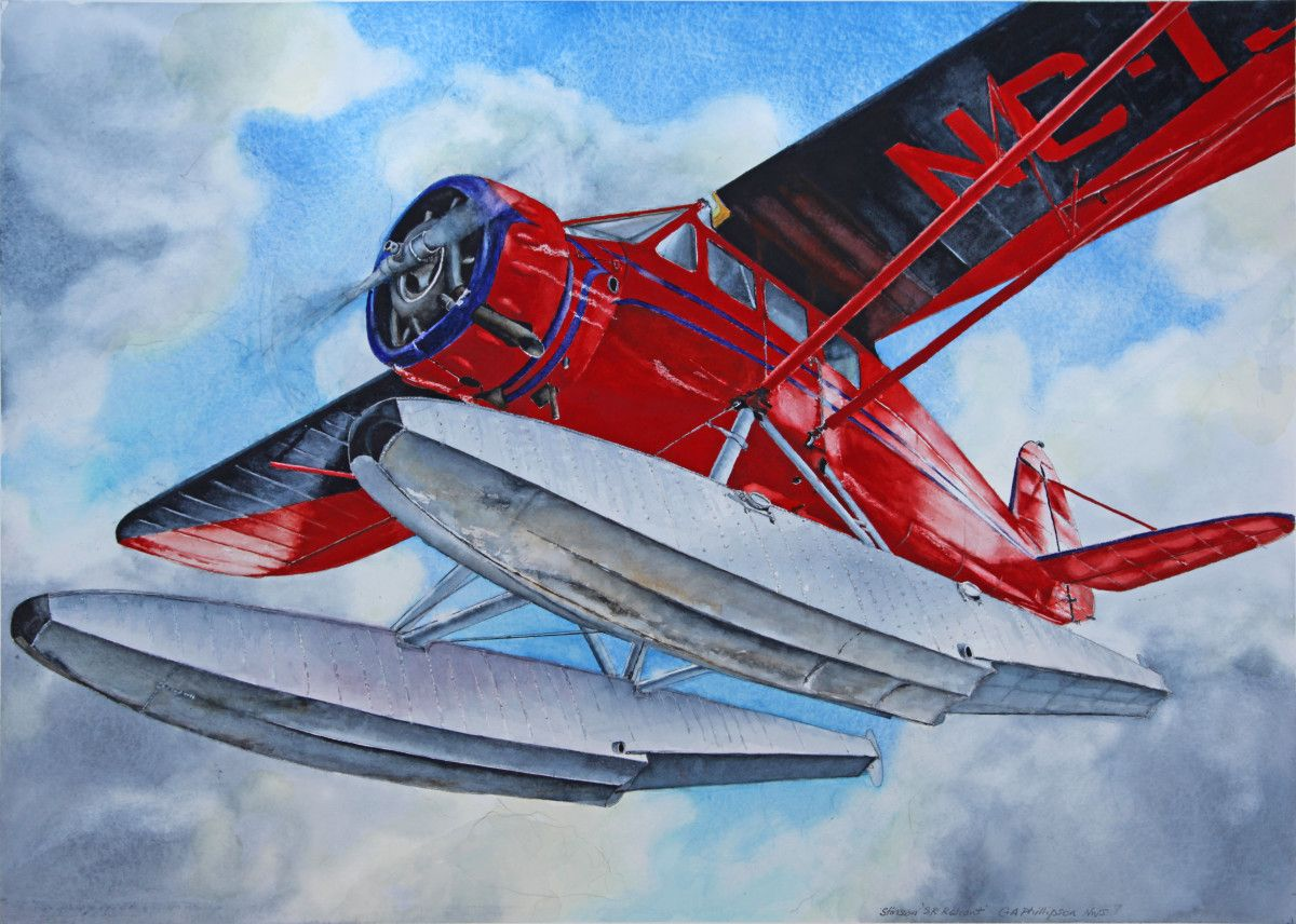 Gordon Phillipson. Stinson SR Reliant Floatplane, Watercolor, 22 x 30 in. $2,200.