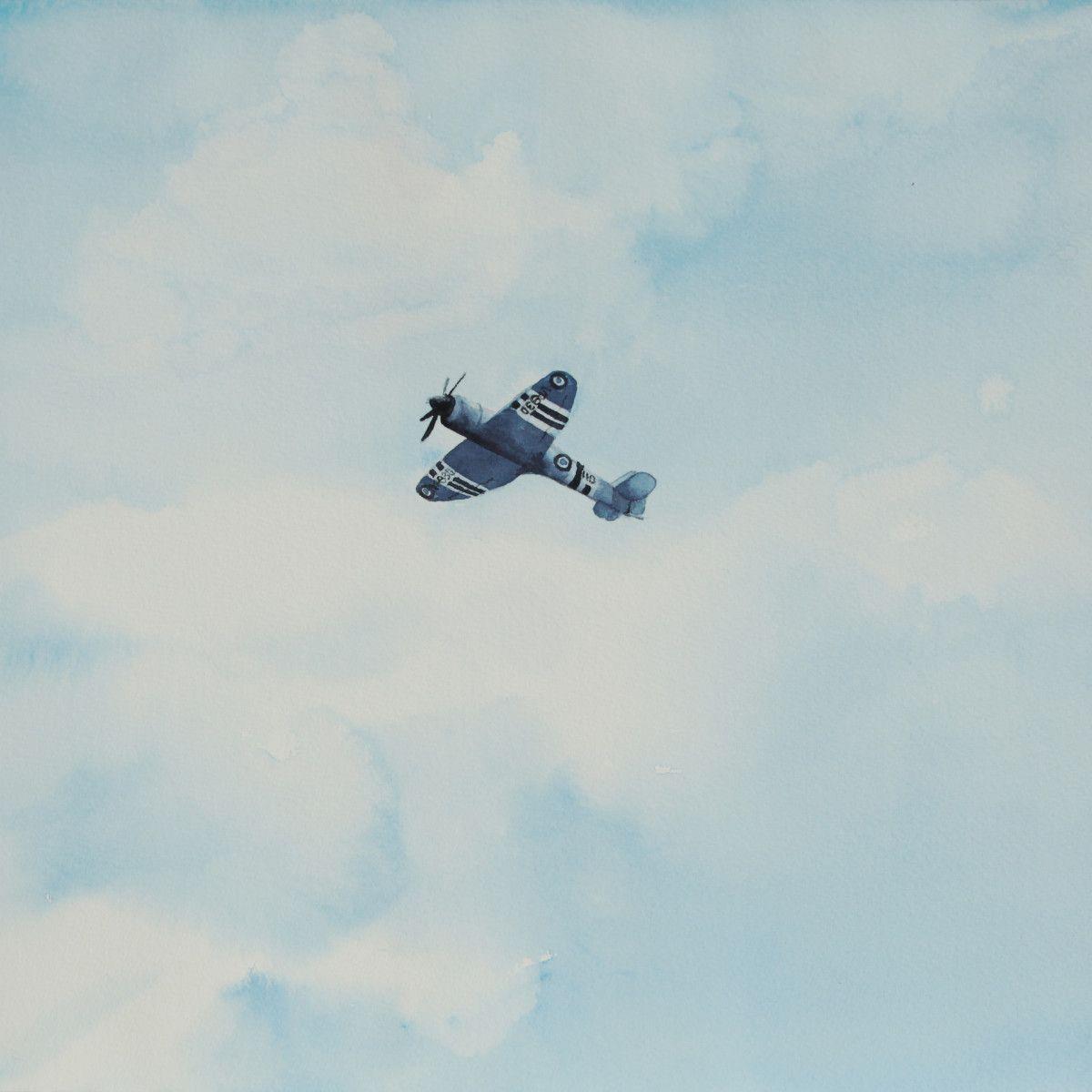 Gordon Phillipson.  Hawker Sea Fury, Blue,  Watercolor, 18 x 18 in.