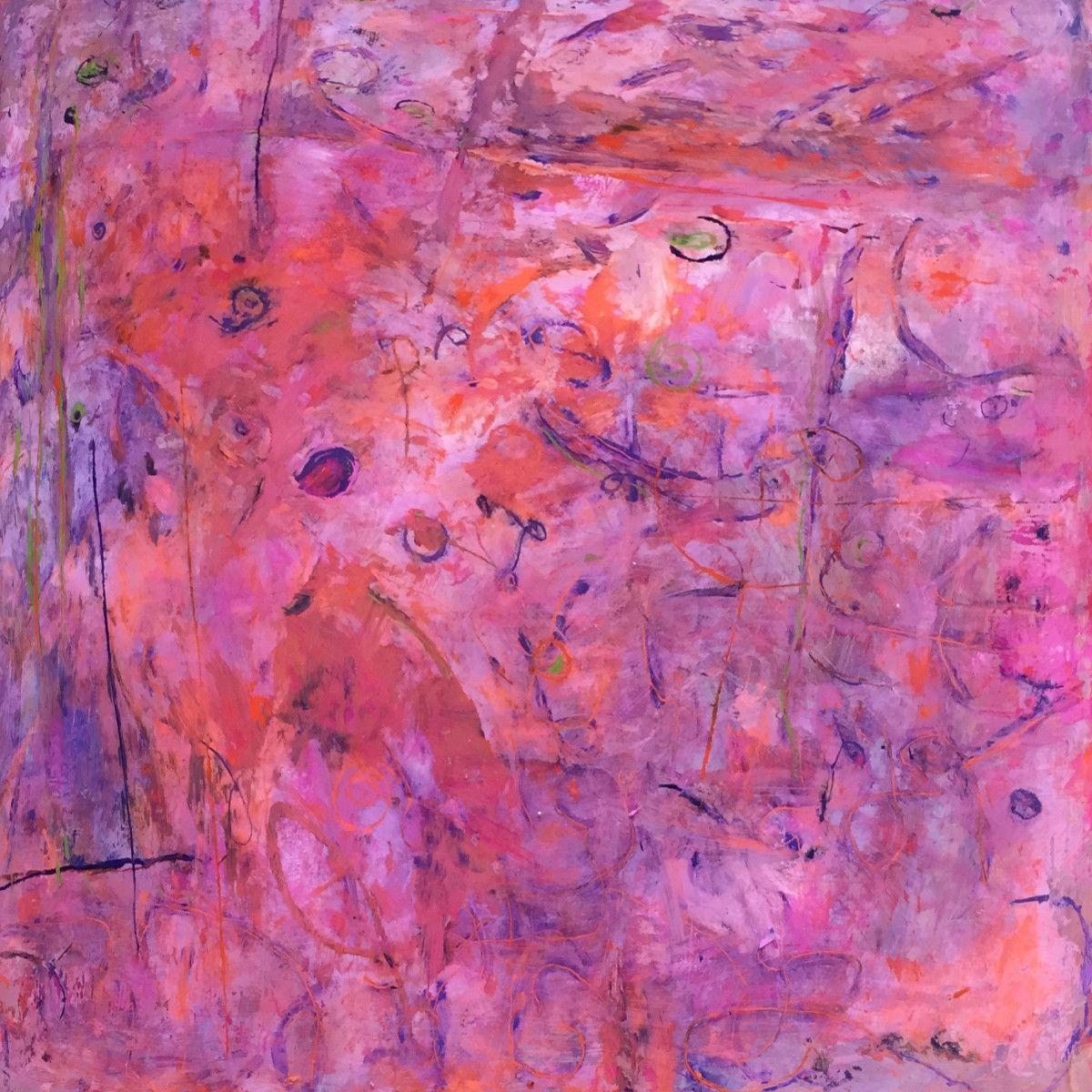 Maria Hughes.  Tono Rosa I , Pigment on Plexiglass, 20 x 20 in.