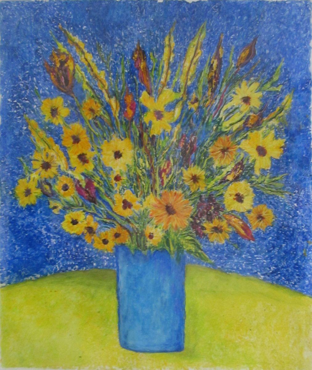 Maria Hughes, Still Life in Blue Vase, SOLD.