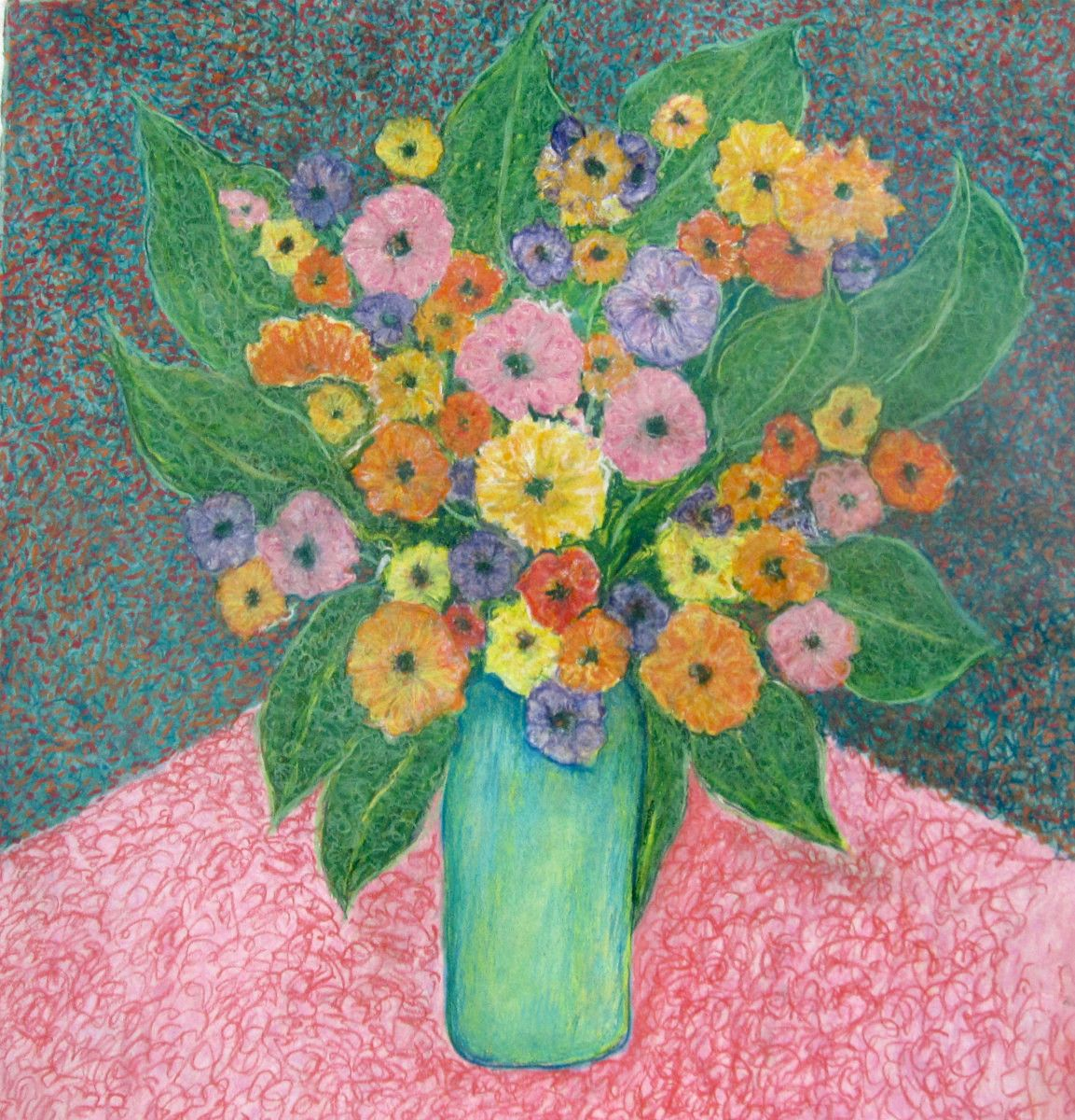 Maria Hughes,  Still Life in Green Vase,  Monotype. SOLD.