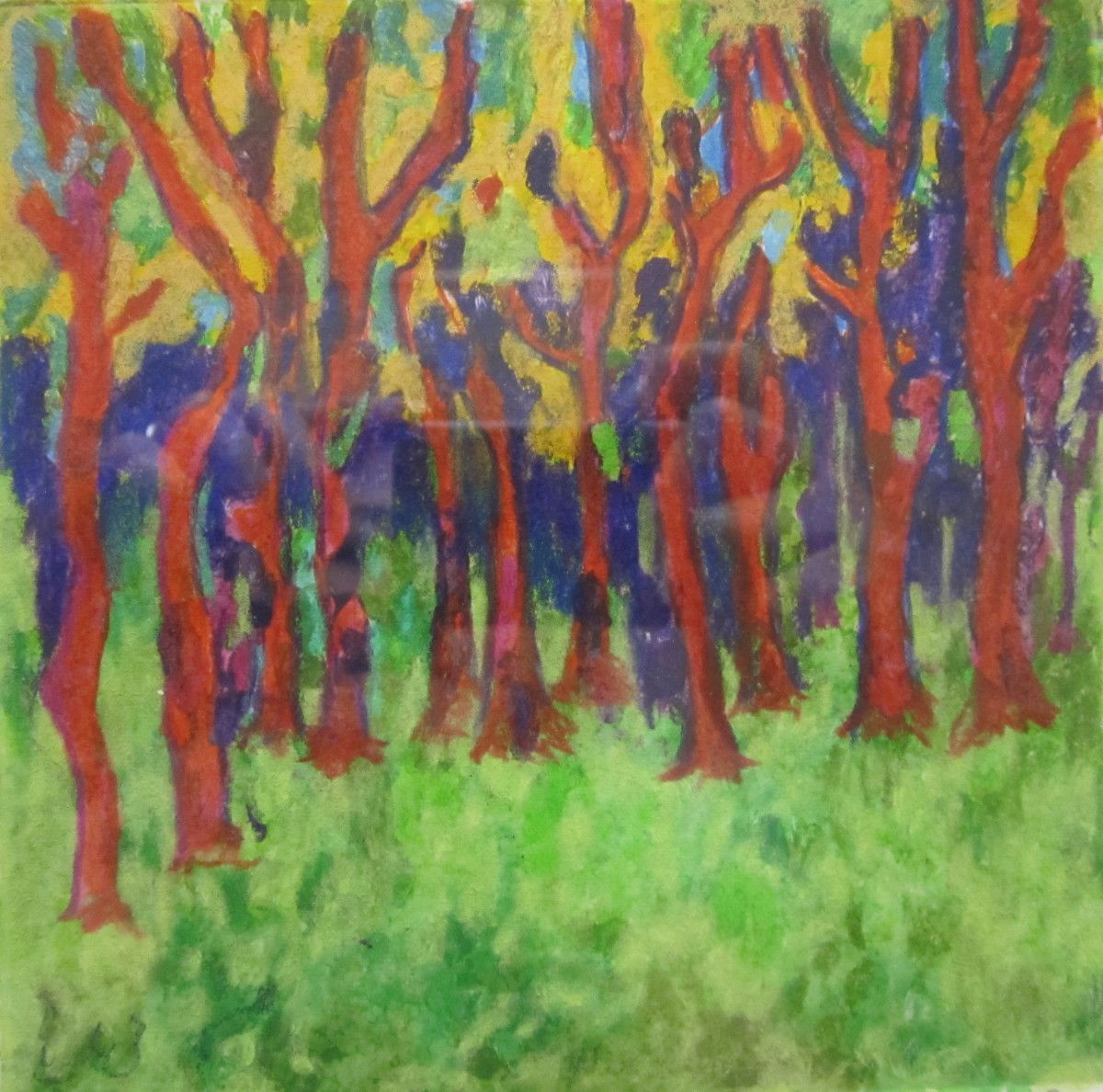 Maria Hughes,  Red Forest , Monotype.