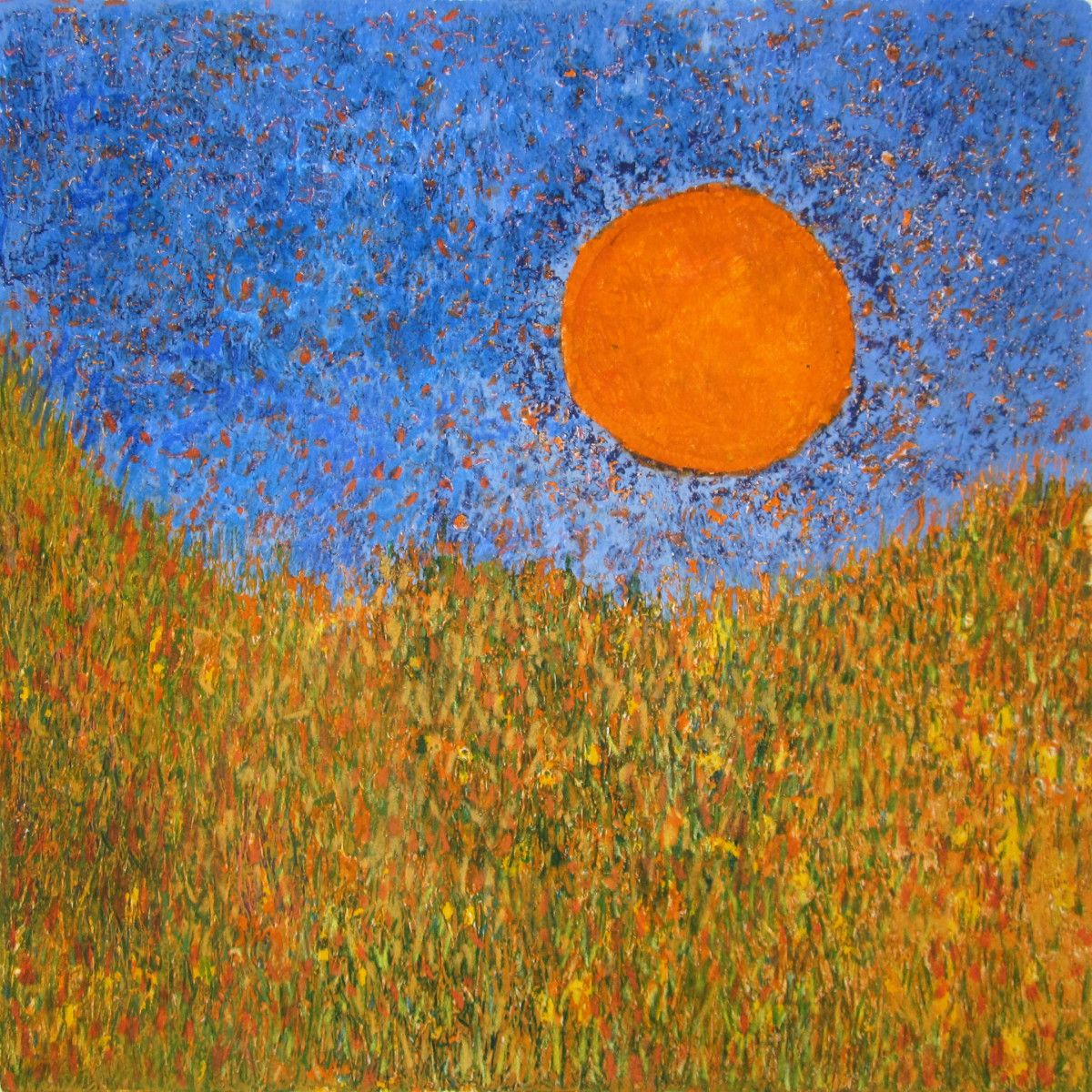 Maria Hughes.  Sun in Late Afternoon , Monotype. 12 x 12 in.