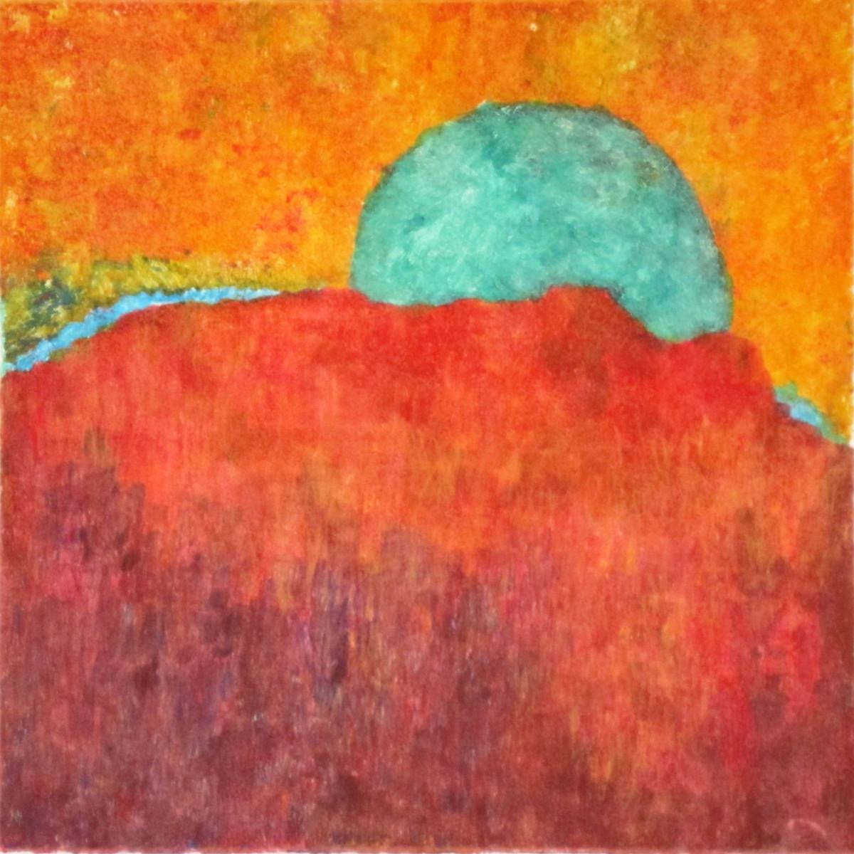 Maria Hughes. My Sun, My Landscape, Monotype, 15 x 15 in.
