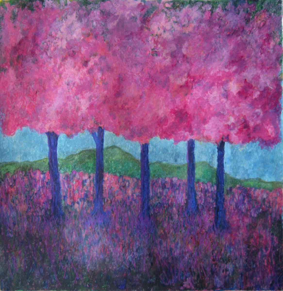 Maria Hughes,  The Pink Trees , Monotype.