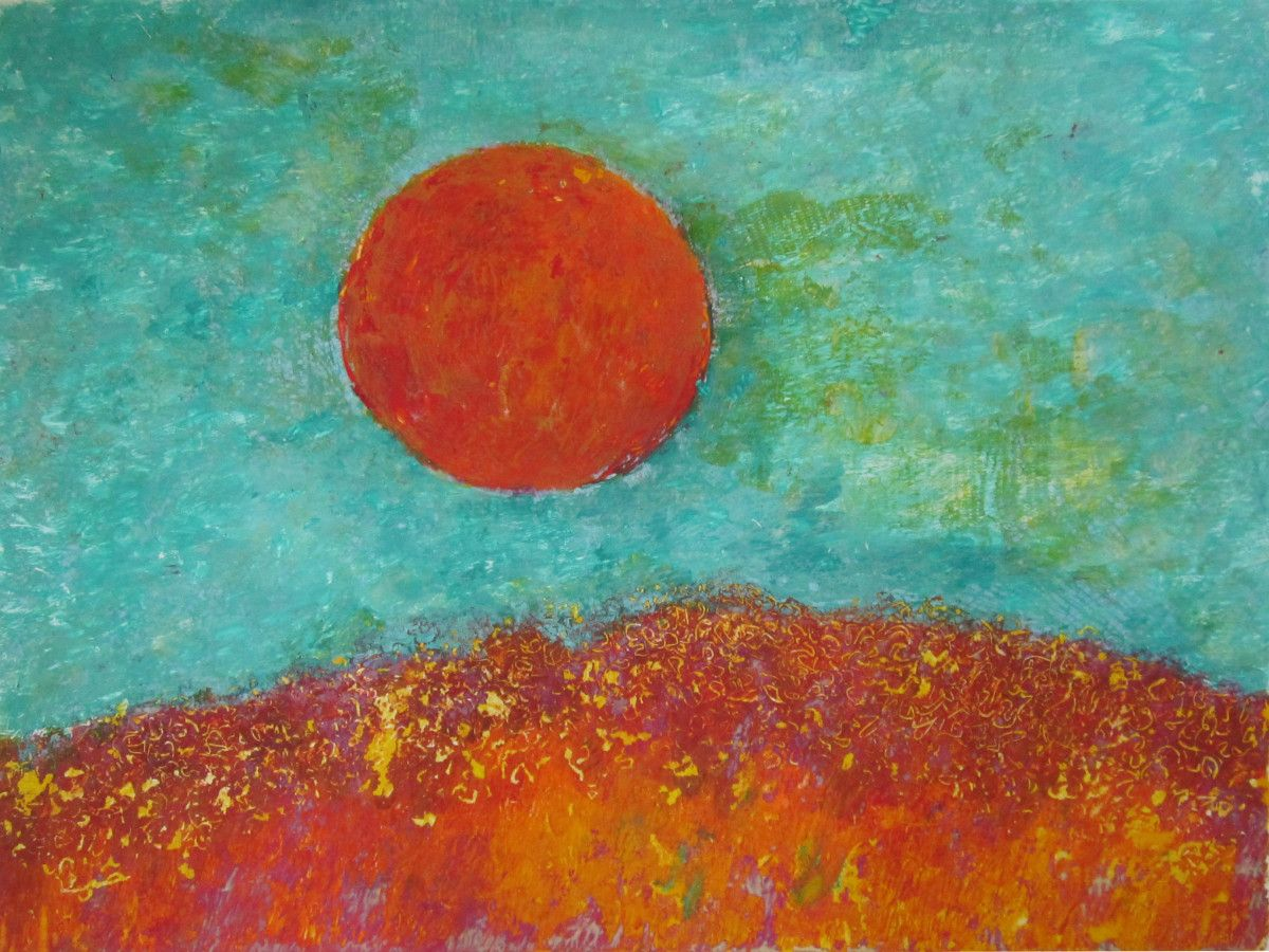 Maria Hughes.  As the Sun Goes By , Monotype, 9 x 12 in.