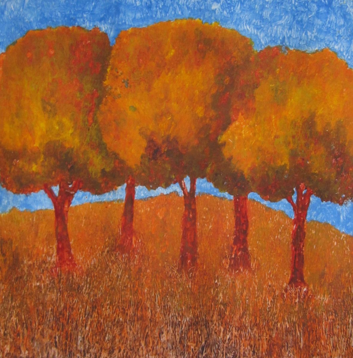 Maria Hughes.  Orange Trees , Monotype, 11 x 12 in. SOLD.