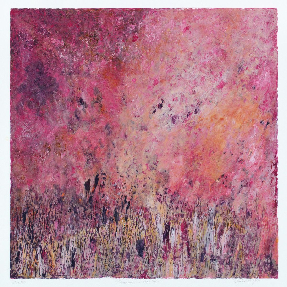 Maria Hughes.  Love is in the Air,  Monotype, 19 x 19 in.