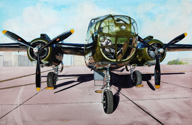 Gordon Philipson,  B25 Doolittle's Raiders - Special Delivery , 2017,  Watercolor. 22 X 30 in.  $2,200.00 From a photograph taken in 2010 At Ellington Field, Houston.