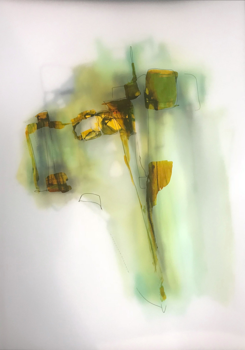 Valentina Atkison,  Green 101 , Diaphanous Series, Watercolor/Overlapping Film. 20 x 14 in. SOLD.
