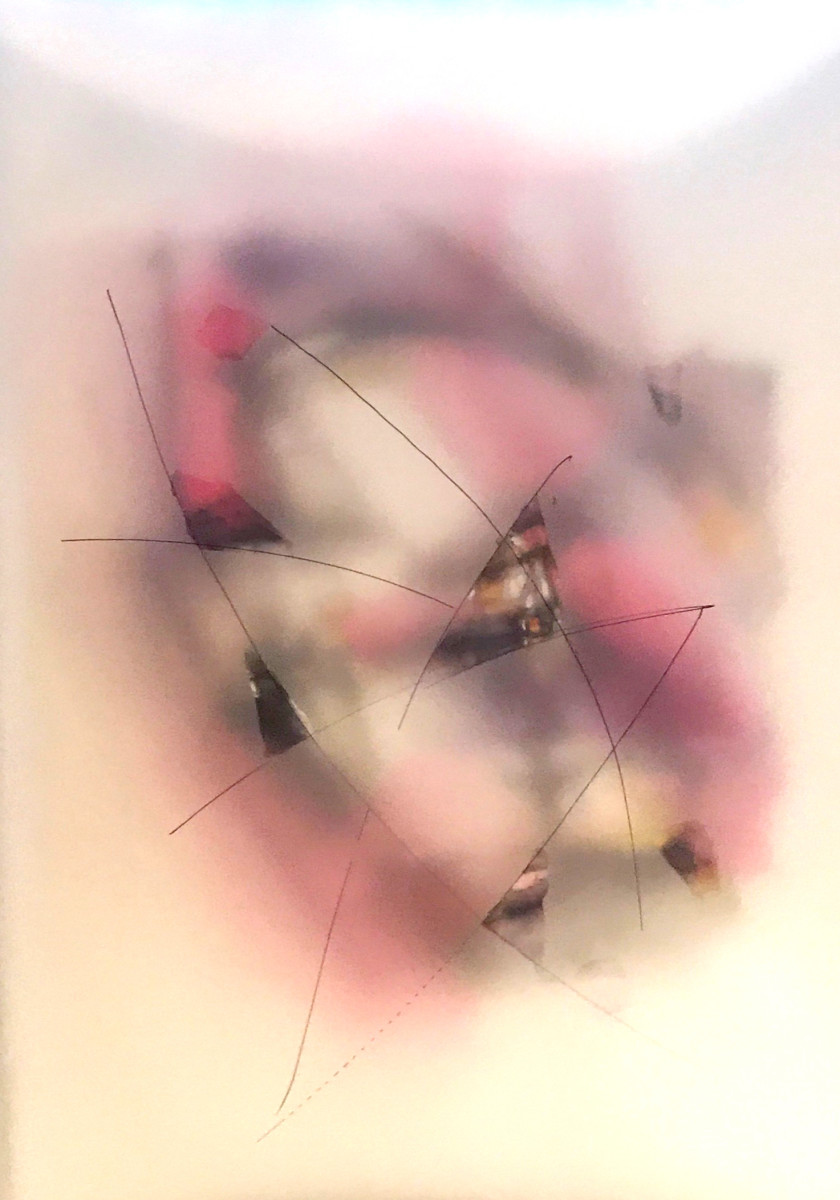 """Valentina Atkison,  Pink 101,""""  Diaphanous Series, Watercolor/Overlapping Film. 20 x 14 in. SOLD."""
