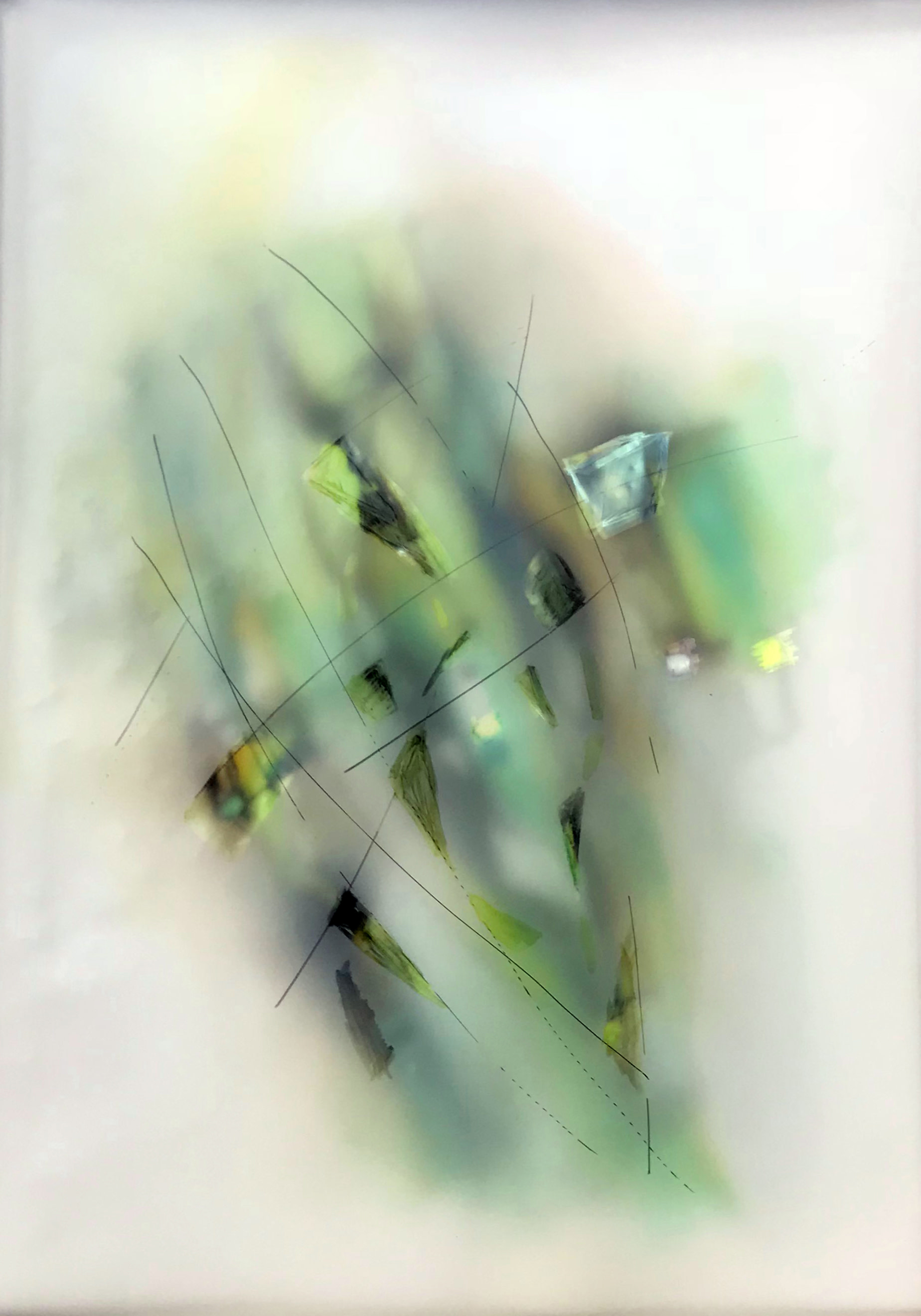 Valentina Atkison,  Green 102 , from the Diaphanous Series, 20 x 14 in., Watercolor/Overlapping Film.