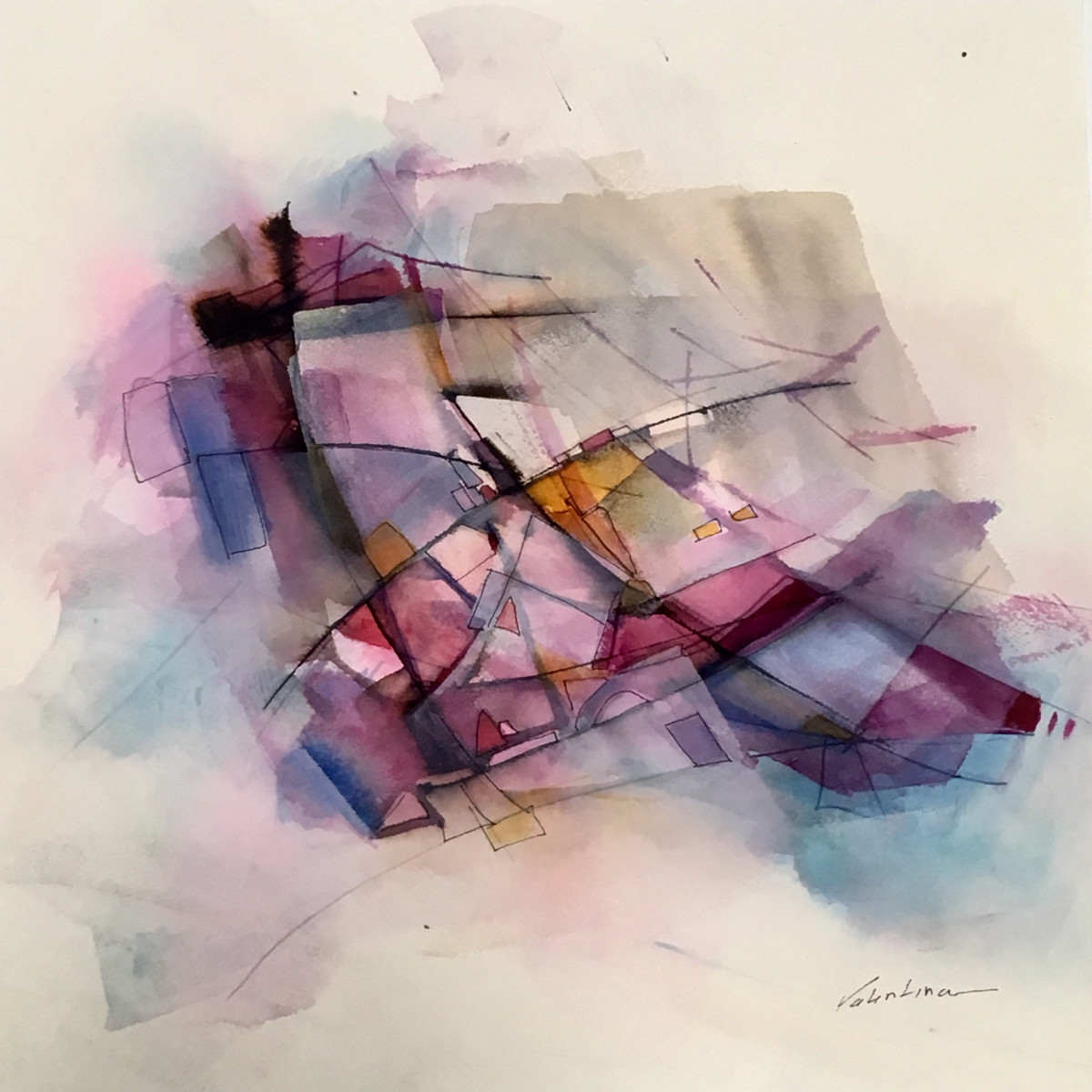 Valentina Atkinson.  Mare , Watercolor and Ink, 14 x 14 in. SOLD.