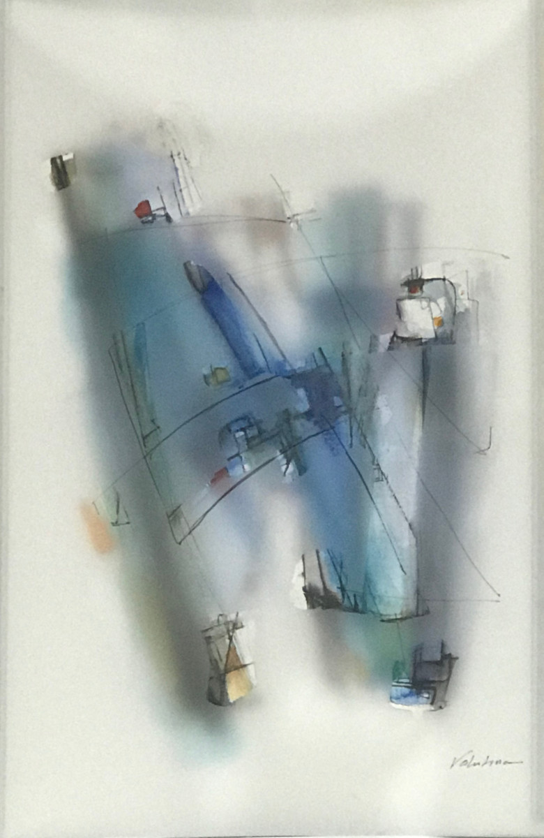 Valentina Atkinson.  Blue 102 , Diaphanous Series. Watercolor and overlapping film. 20 x 14 in.