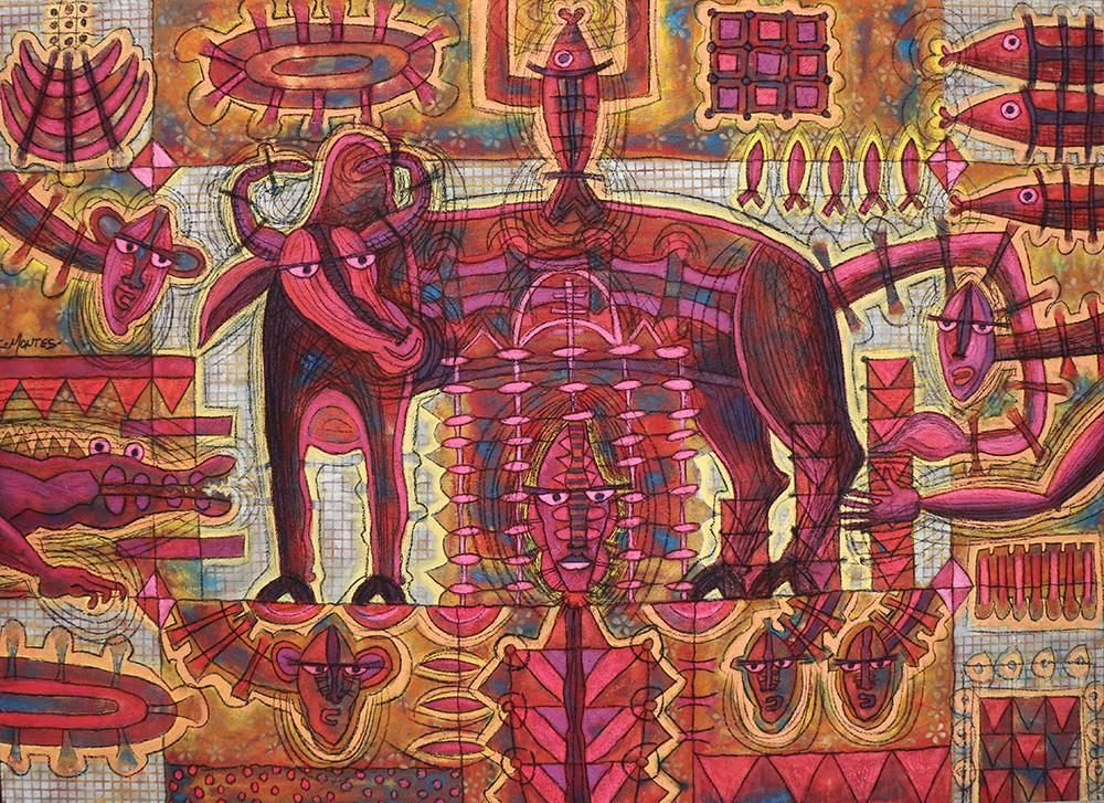 Ixrael Montes,  Toro , Mixed media on canvas, 2014, 145 cm x 200 cm.
