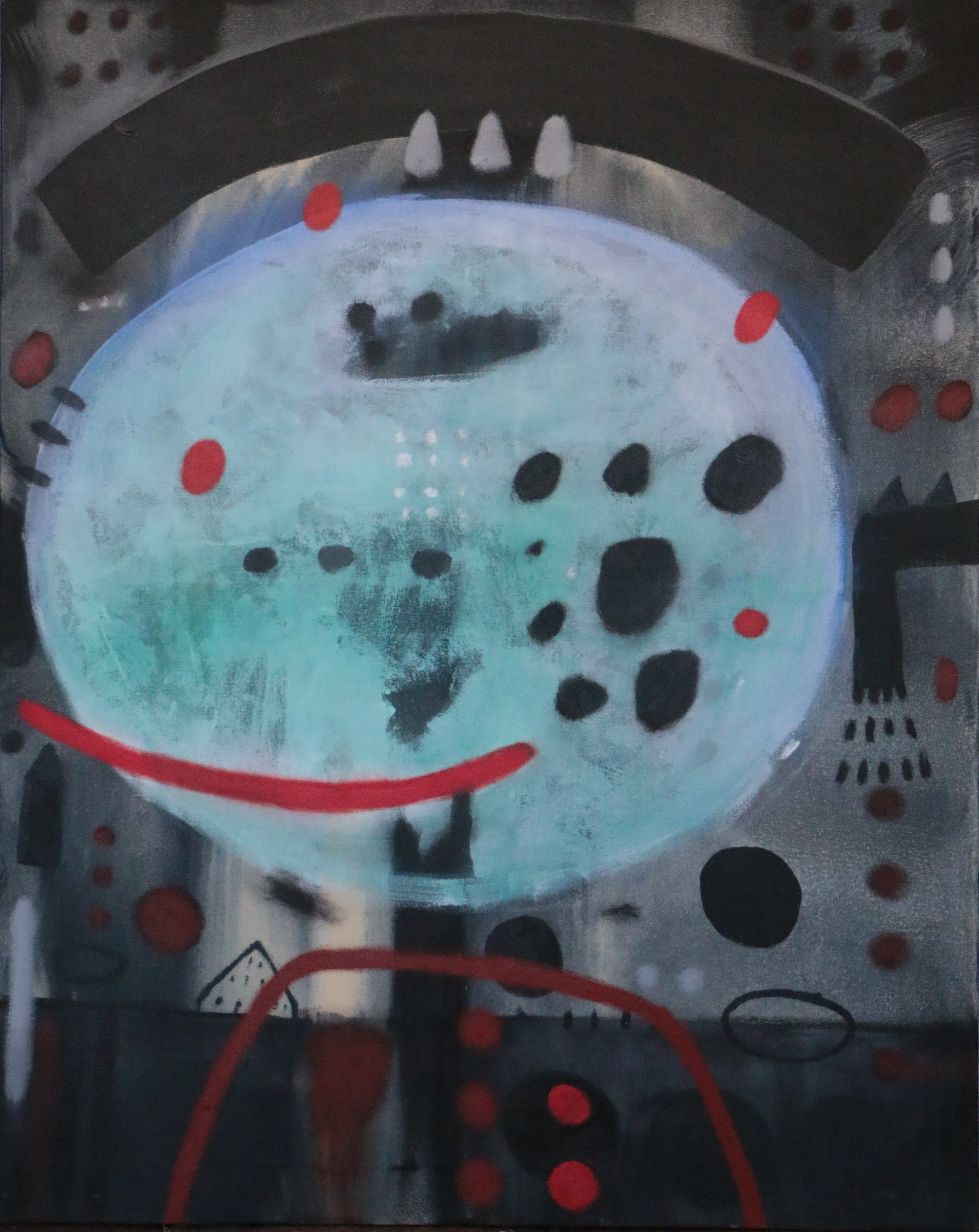 Didier Mayés,  Donza luna , 2018, Oil on canvas, 39.5 x 31.5 IN