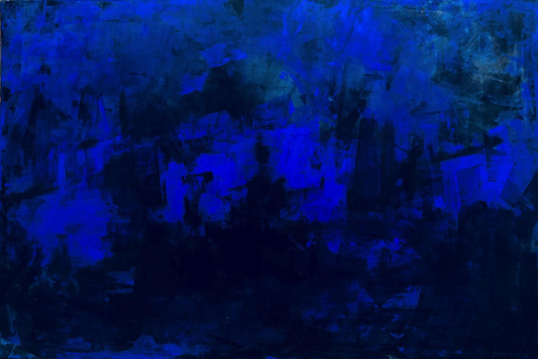 Valentina Atkinson, Azul Añil, 2018. Acrylic on Canvas, 48 x 72 in. SOLD.