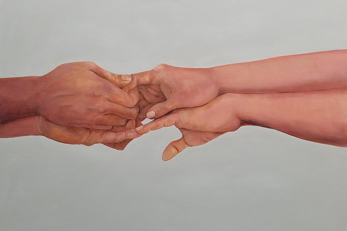 Kyong Burke. Three Silent Words III, 2018, Acrylic on canvas,. 24 x 36 in. $650.