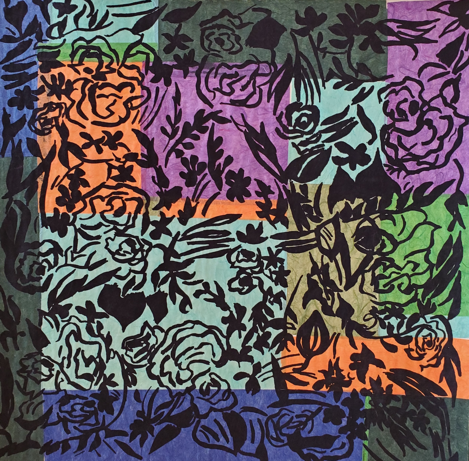 Anne Joëlle Galley, Flores 1, Silkscreen and chine colle, 20 x 20 in.