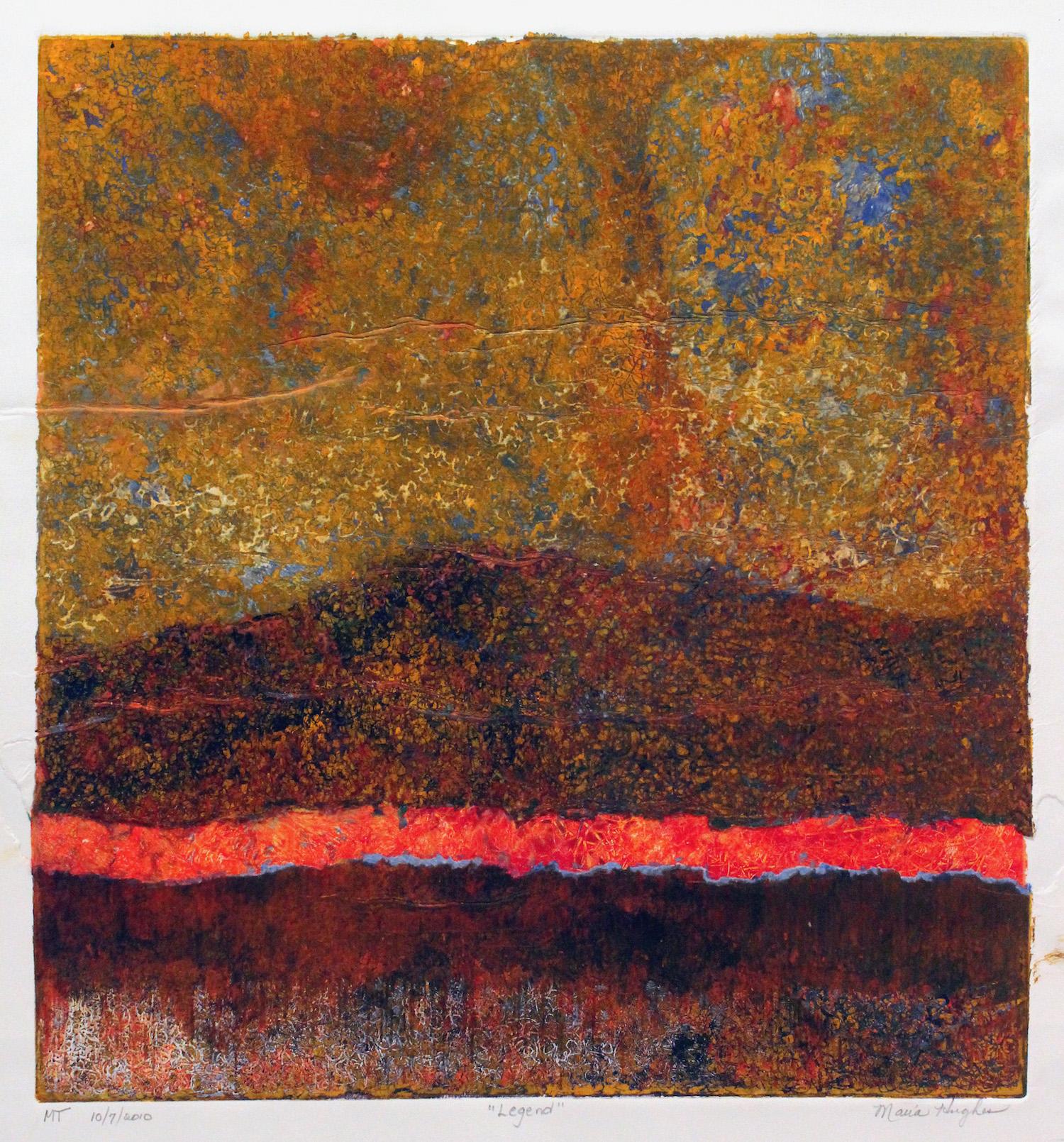 Maria Hughes, Legend, 2011. Monotype, 21 x 19.5 in.