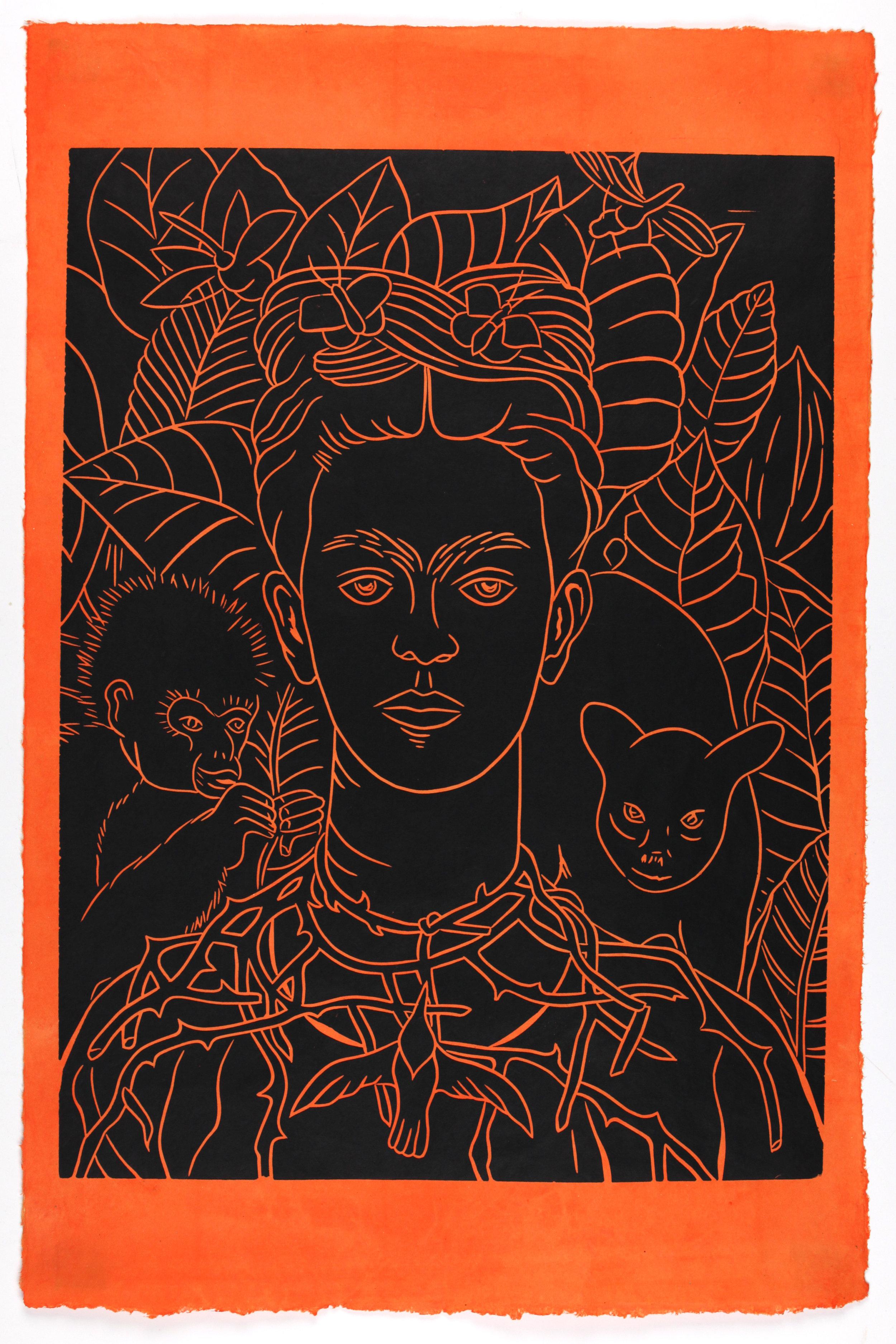 Armando Rodriguez, Frida Naranja, 2019. Linocut on hand-dyed Lotka  Paper