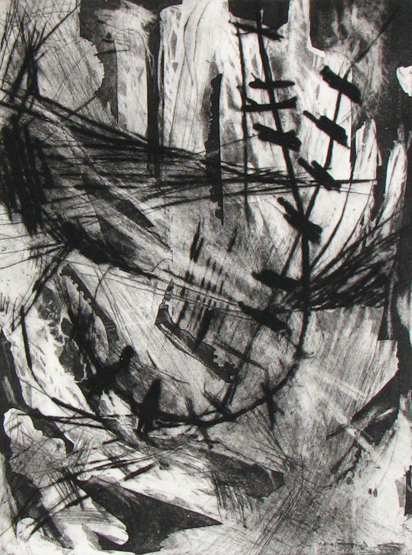 Shanti Conlan, Sky Hook, Drypoint and Aquatint, 12 x 9 in.