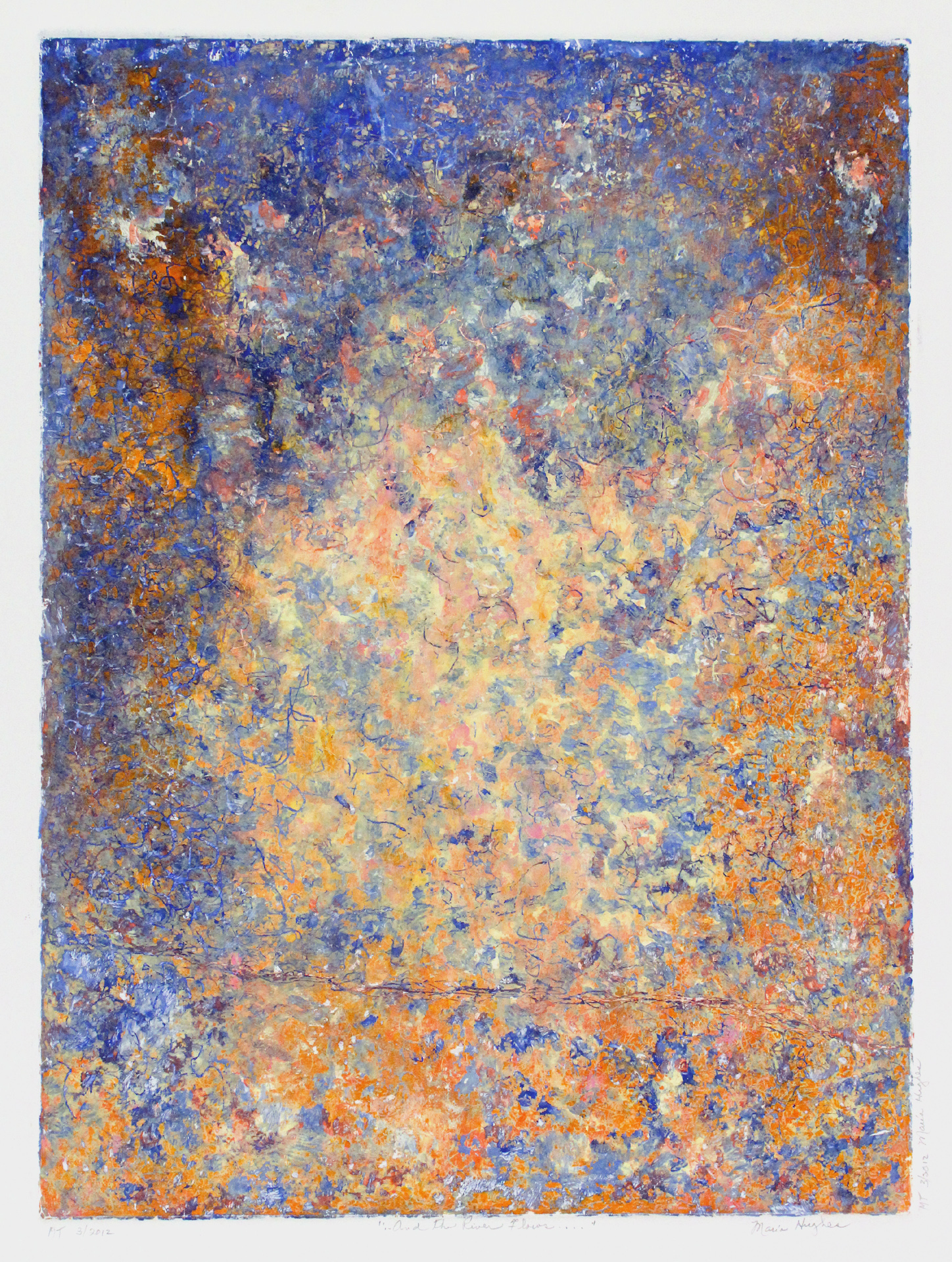 Maria Hughes, As the River Flows, Monotype, 24 x 18 in.