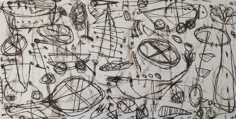 Didier Mayés,  Florero , 2018, Metal engraving - Aquatint, 4.15 x 8.24 in. SOLD.
