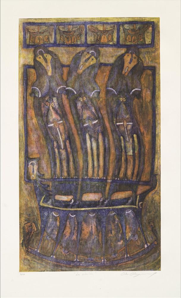 Rolando Rojas,  La Caballita , Etching (Ed. 25/26), 47.2 x 31.4 in.